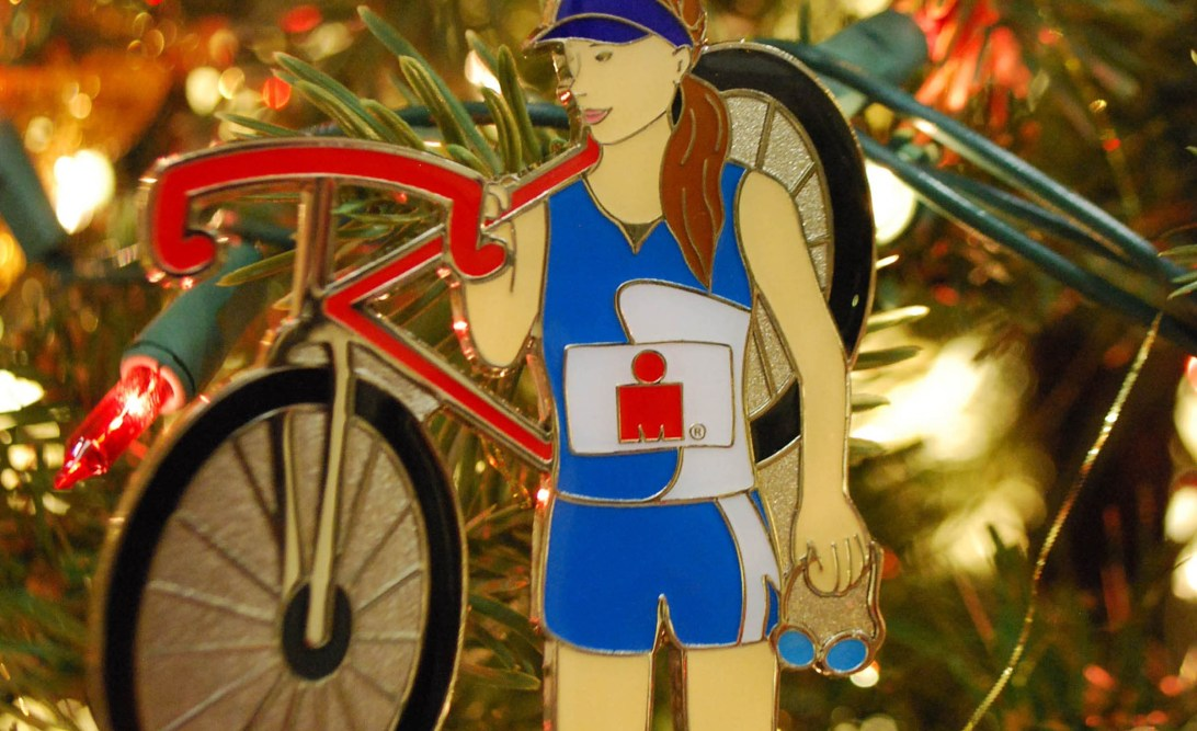 Female triathlete Christmas decoration