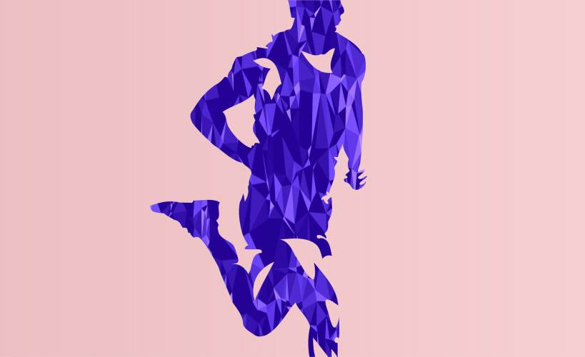 Abstract illustration of a man running fast.