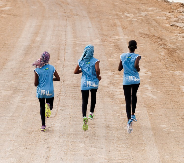 Still from Finding Strong showing three women running