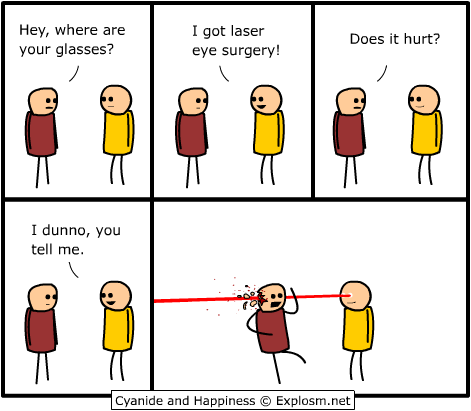Cartoon about having laser eye surgery