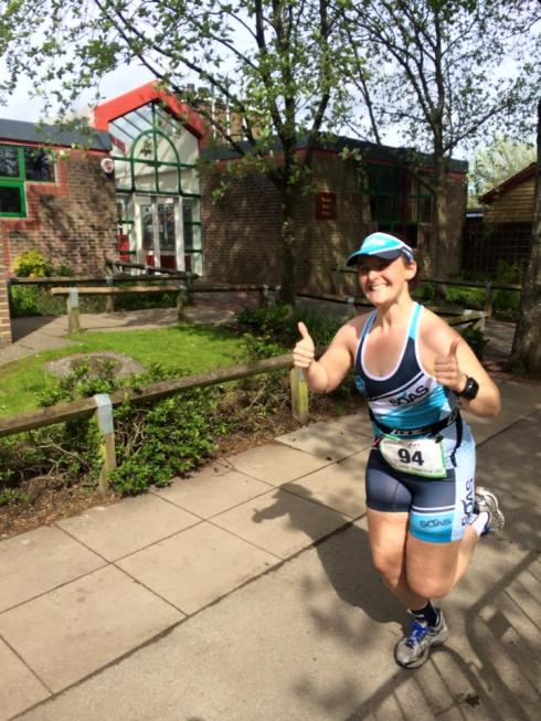 Tamsyn during May Day Tri run