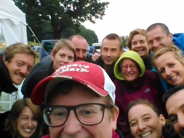 Thunder Run selfie taken by Liz with many fellow runners around her.