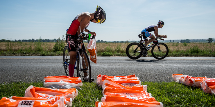 Ironman athletes by special needs bags