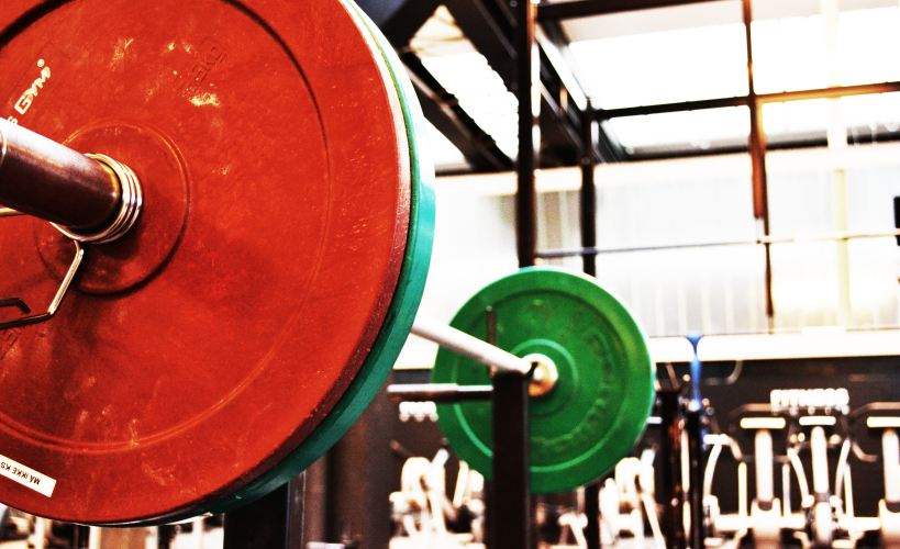 Weights in a gym.