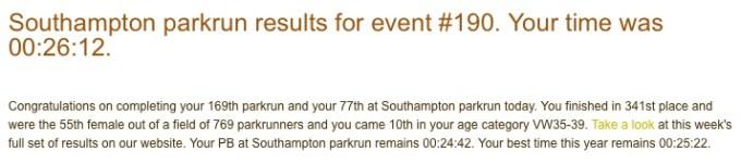 parkrun result 30th January