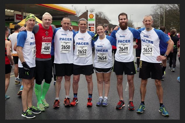 Lining up with other pacers (and Iwan Thomas) at Eastleigh 10k