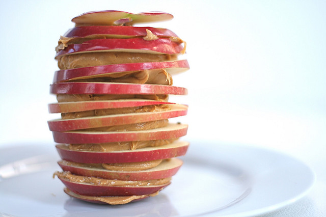 Apple and peanut butter stack - one of my favourite post-workout snacks.