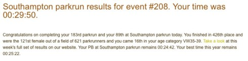 Southampton parkrun 208