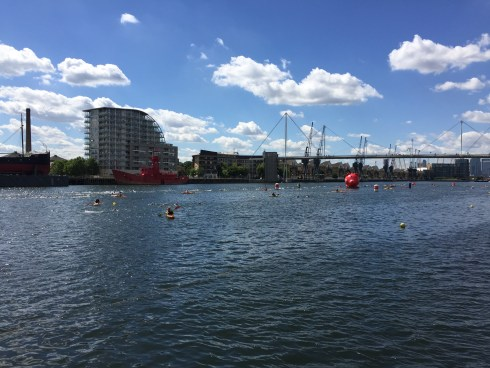 Looking back towards the start of the swim course