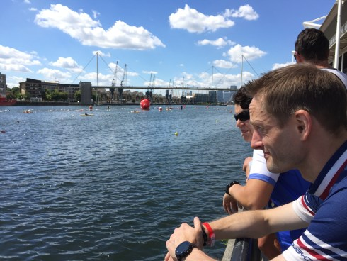 Jez watching the swimmers