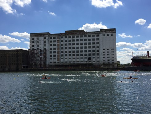 View of the swim course and the Millennium Mills building