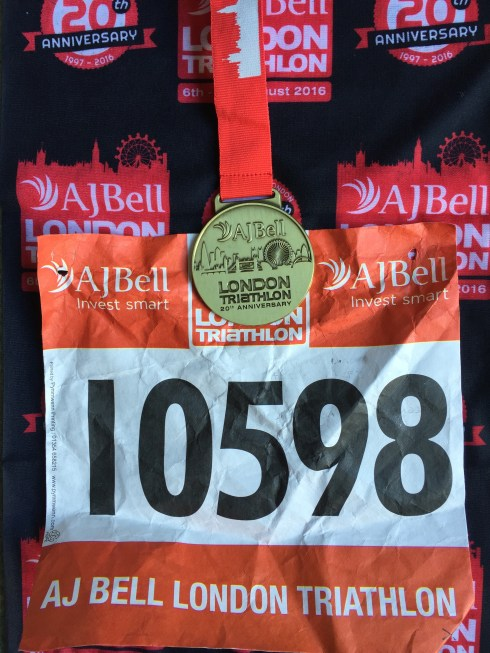 London Triathlon medal, race number and buff