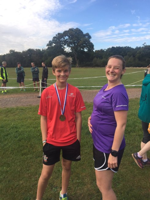 Posing with Toby after parkrun © Kate Budd