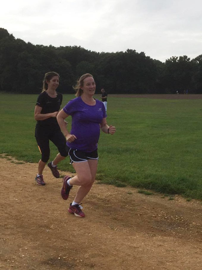 Finishing parkrun with Kate (and Kim)