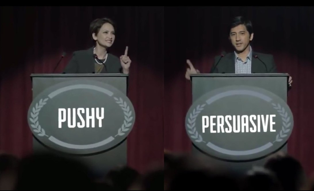 Still from Pantene labels against women advert. The woman is labelled 'pushy' whereas the made is labelled 'persuasive'.