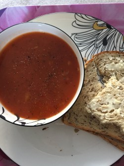 Soup with bread and butter