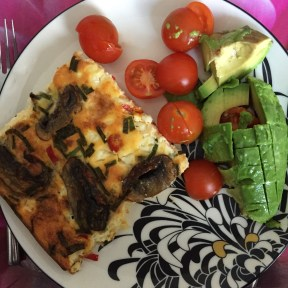 Frittata with avocado and cherry tomatoes