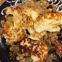 Grilled halloumi and Moroccan couscous