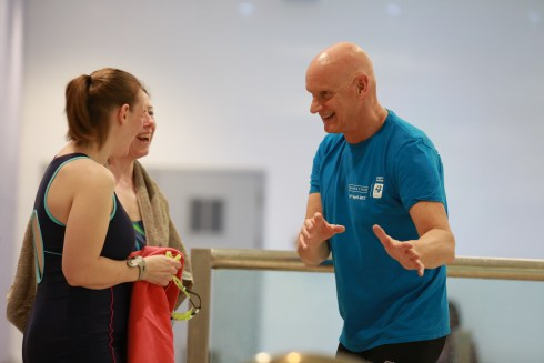 Duncan Goodhew chatting with Blogsquad