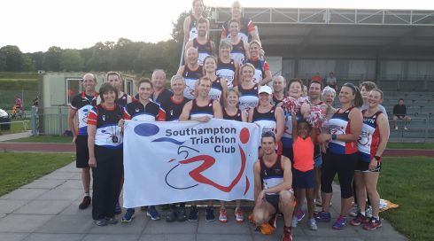 Southampton Tri Club team members in a group photo at Mile of Miles.