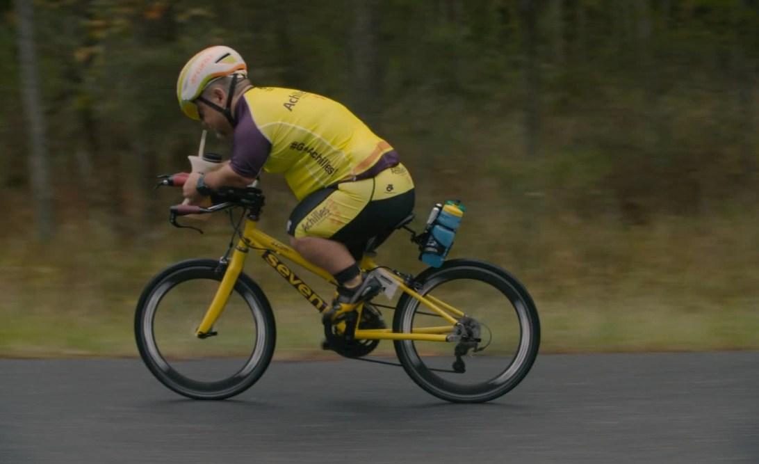 John Young, paratriathlete, on his bike