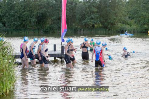 Getting in the water at HOWL aquathlon