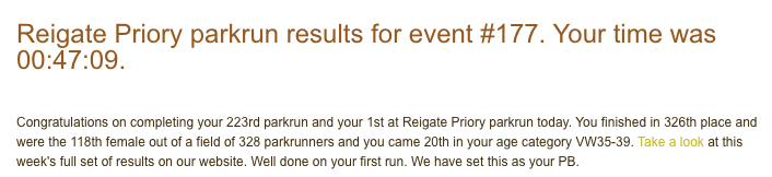 Result from Reigate Priory parkrun #177