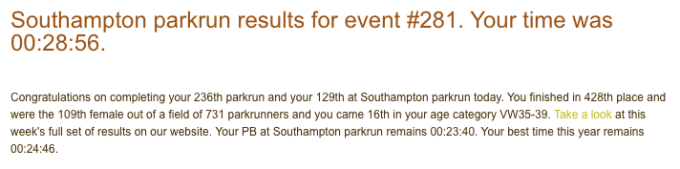 Tamsyn's results from Southampton parkrun on 11th November 2017.