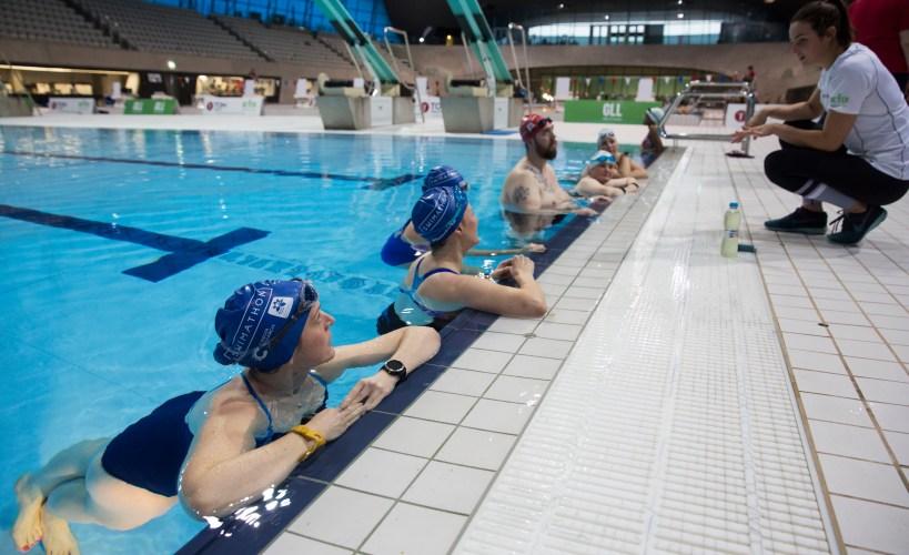 Swimathon Ambassadors swimming with Keri-anne Payne