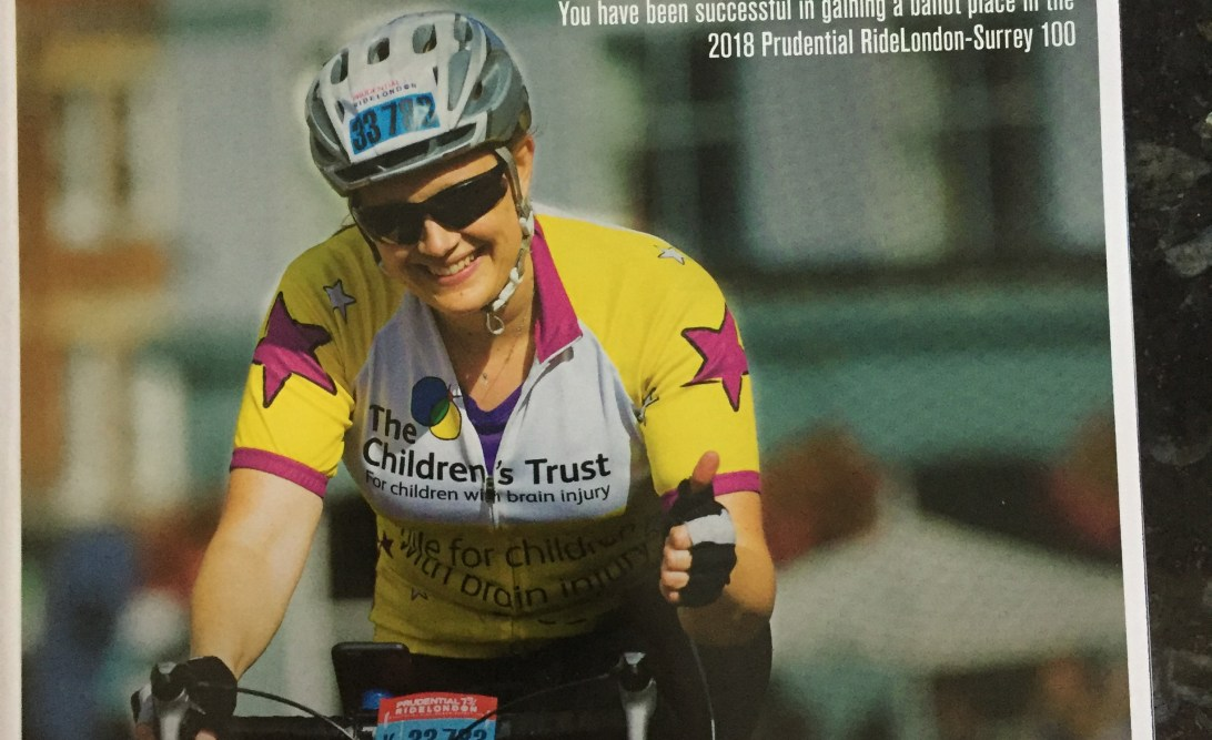 RideLondon 2018 Congratulations magazine confirming my place in the event