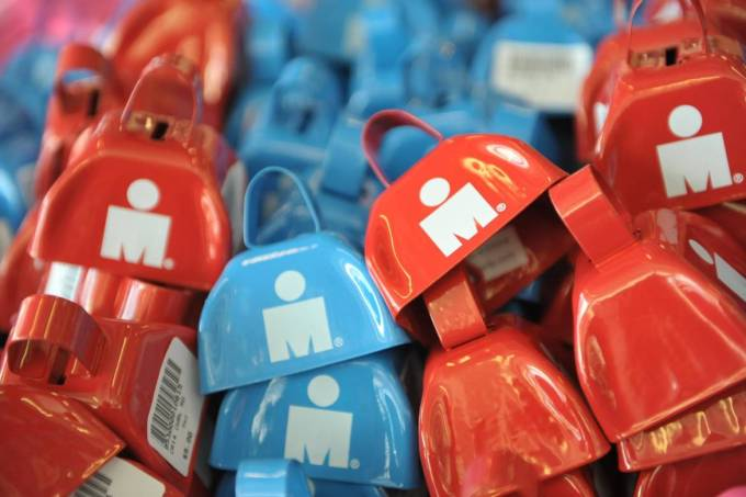 Pile of Ironman branded cowbells