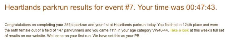 Heartlands parkrun result