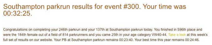 Southampton parkrun 300