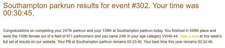 Southampton parkrun 302