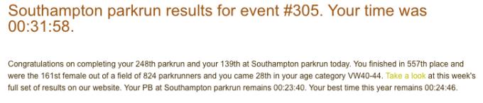 Southampton parkrun 305