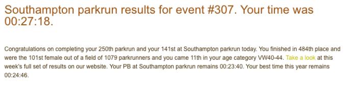 Southampton parkrun 307