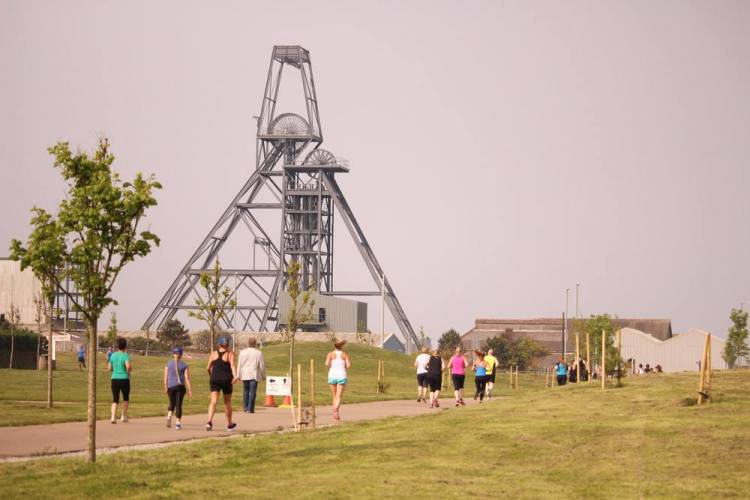 Heartlands parkrun route with mining headstocks in the background