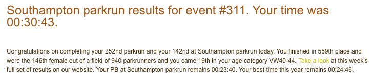 Southampton parkrun 2nd June 18