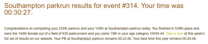 Southampton parkrun 23 June 18