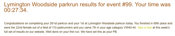 Result from Lymington parkrun #99