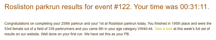 Result for running at Rosliston parkrun #122