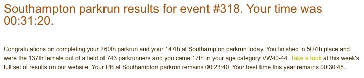 Southampton parkrun 4 Aug 18