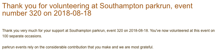 Thank you email for volunteering at Southampton parkrun