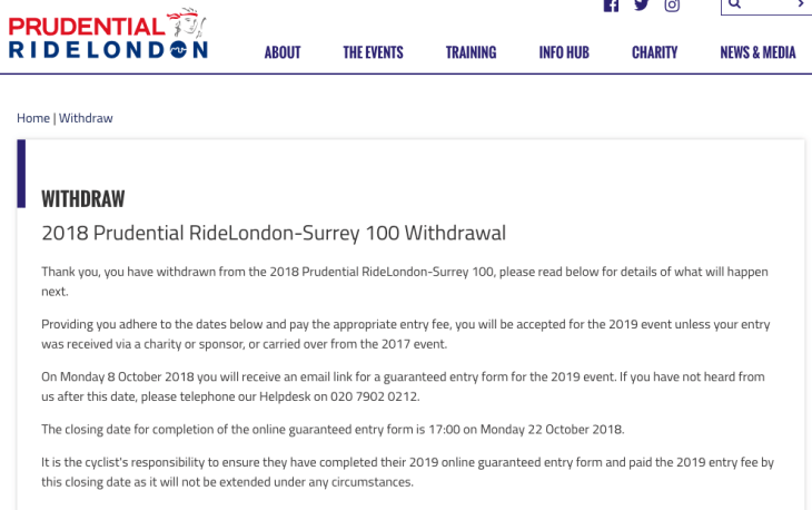 Withdrawal from RideLondon