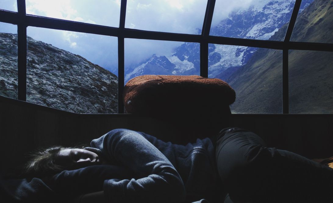 Person sleeping in a glass igloo in Peru