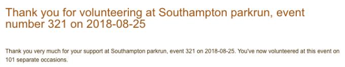 Volunteering at Southampton parkrun #321