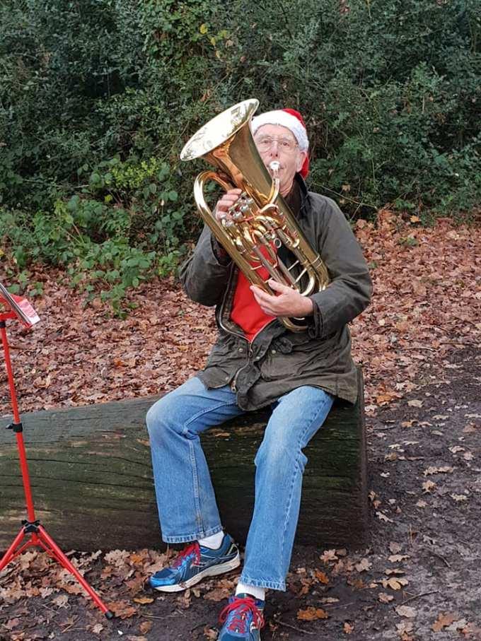 Roger Bradley playing his euphonium at Southampton parkrun on 22nd December 2018.