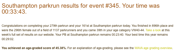 Tamsyn's result from Southampton parkrun #345 on 26th January 2019: 33:43.