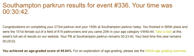 tamsyn's result from Southampton parkrun on 8th December 2018: 30:42.
