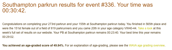 Result from Southampton parkrun on 8th December 2018: 30:42